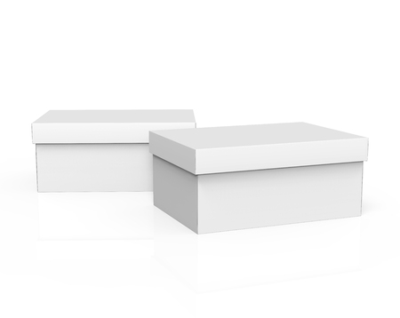 contain: two 3d rendering blank white paper closed boxes for design use, isolated white background, elevated view