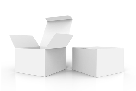 two spun 3d rendering white blank boxes for design uses, one open and left tilt, isolated white background side view
