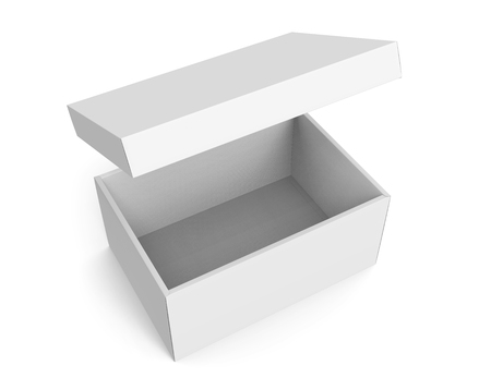 3d rendering left tilt blank white paper box with floating separate lid for design use, isolated white background, elevated view 版權商用圖片