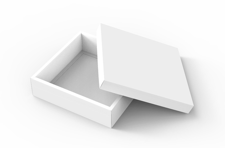 contain: blank flat 3d rendering half open spun white square box with separate lid, isolated white background elevated view Stock Photo