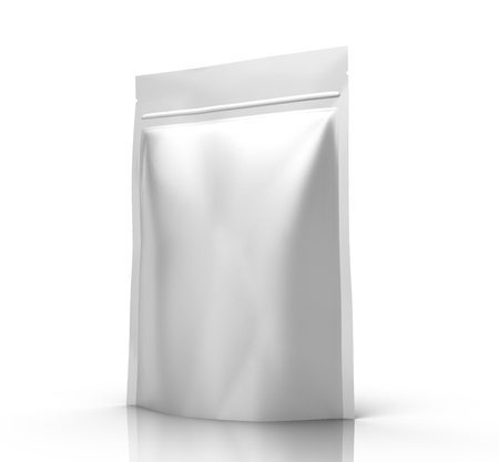 銀右傾き空 3 d 設計用のジッパー袋をレンダリング、分離ホワイト バック グラウンド上昇のビュー 写真素材 - 81785315