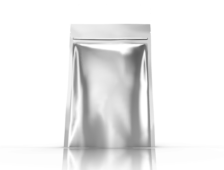 silver blank 3d rendering zipper pouch for design use, isolated white background side view