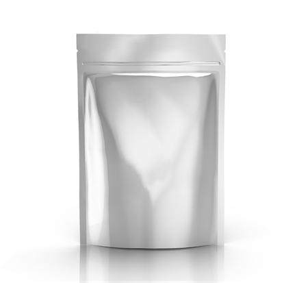 銀の空 3 d ホワイト バック グラウンド側のビューを分離した設計用ジッパー袋をレンダリングします。 写真素材