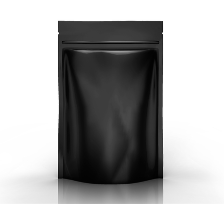 black blank 3d rendering zipper pouch for design use, isolated white background side view  Stockfoto