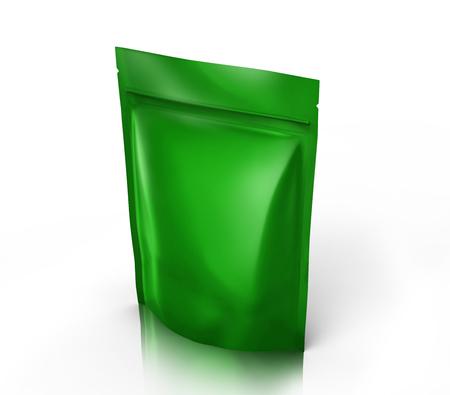 緑右傾き空 3 d 設計用のジッパー袋をレンダリング、分離ホワイト バック グラウンド上昇のビュー
