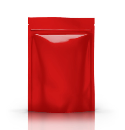 red blank 3d rendering zipper pouch for design use, isolated white background side view