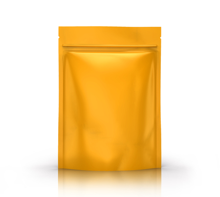 yellow blank 3d rendering zipper pouch for design use, isolated white background side view  Stock Photo