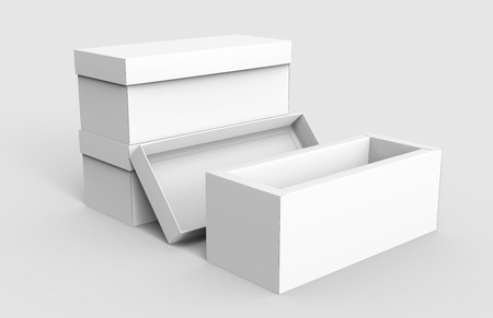 three blank white paper boxes piled up with one open for design in 3d rendering