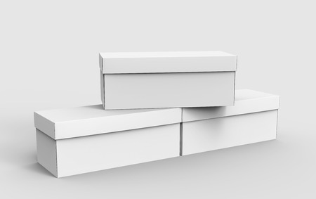 three blank white paper boxes piled up for design in 3d rendering Stok Fotoğraf