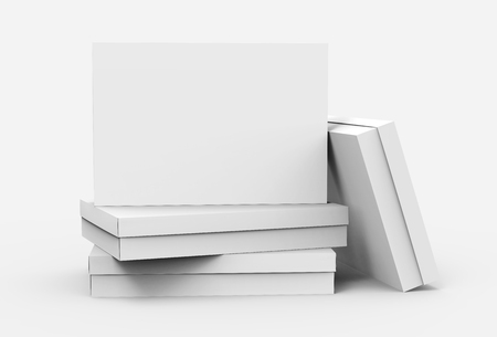 several flat blank boxes piled up for design in 3d rendering
