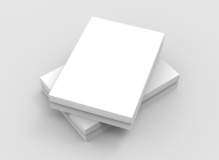 two flat blank boxes piled up for design in 3d rendering
