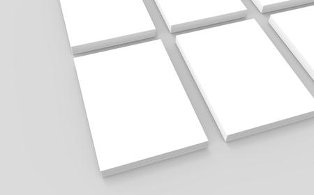 빈 책 서식 파일, 3d 렌더링에 디자인 용도로 mockup를 닫습니다. 높은보기를 볼