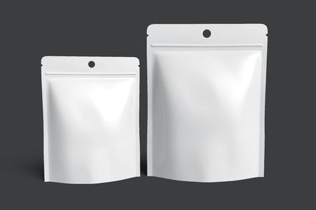 2 つの空白の白いジッパー袋のデザイン要素として使用することができます、暗い灰色の背景 3 d レンダリング サイドビューを分離 写真素材