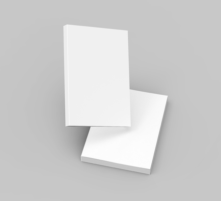 Blank books template, mockup for design uses in 3d rendering, one floating in the air