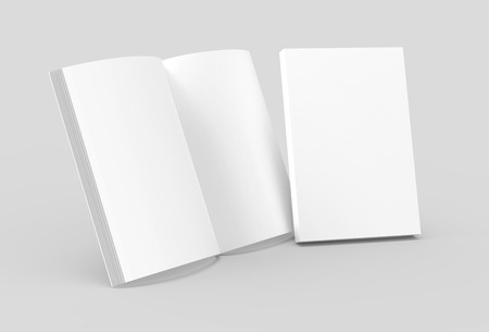 Blank book template, mockup for design uses in 3d rendering, one standing open book with closed one Stock Photo