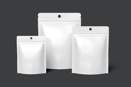 three blank white zipper pouches, with the biggest one in the middle, can be used as design elements, isolated dark gray background 3d rendering side view