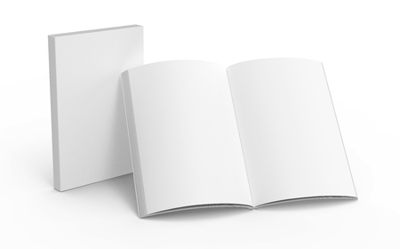 Blank book template, mockup for design uses in 3d rendering, one standing open book with closed one Reklamní fotografie