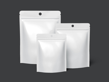 three blank white zipper pouches, can be used as design elements, isolated dark gray background 3d rendering side view