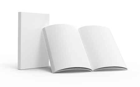 Blank book template, mockup for design uses in 3d rendering, one standing open book with closed one Archivio Fotografico