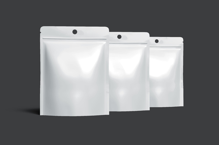 contain: three blank white zipper pouches placed in left tilt line, can be used as design elements, isolated dark gray background 3d rendering side view