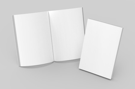 Blank book template, mockup for design uses in 3d rendering, one standing open book with closed one Stock Photo - 81869885