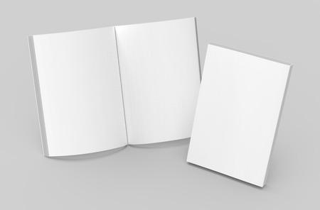 Plantilla de libro en blanco, maqueta para usos de diseño en representación 3d, un libro abierto permanente con cerrado Foto de archivo - 81869885