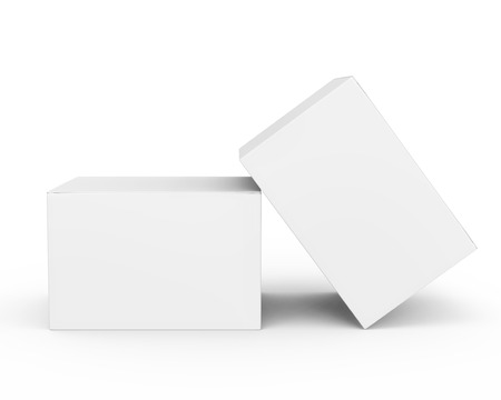 Blank paper box mockup, white paper boxes in 3d rendering isolated on white background
