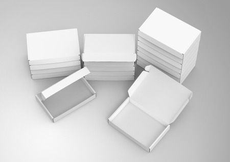 Blank tuck top box template, bulk boxes mockup isolated on light gray background, elevated view
