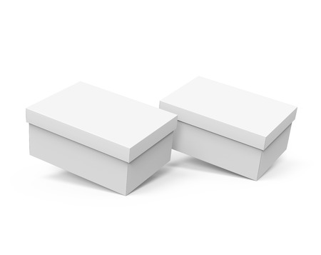 Blank paper box template, two boxes mockup with lid in 3d rendering, slightly floating 版權商用圖片