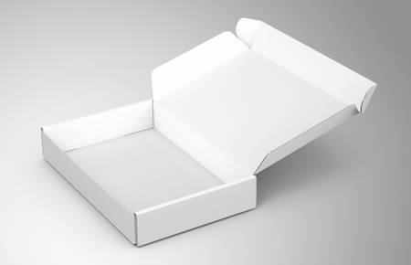 Blank tuck top box template, single open paper box mockup isolated on light gray background