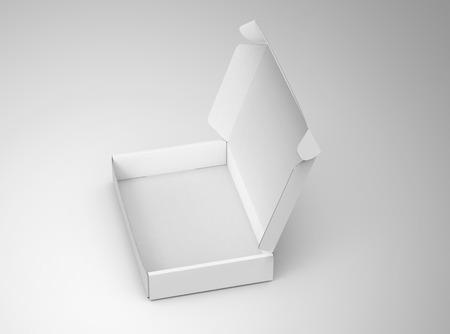 Lege tuck top box sjabloon, enkele open papier vak mockup geïsoleerd op de lichtgrijze achtergrond, verhoogde weergave Stockfoto