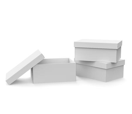 빈 종이 상자 서식 파일, 3d 렌더링에 뚜껑와 함께 3 박스 모형, 한 오픈 및 뚜껑에 의지 할