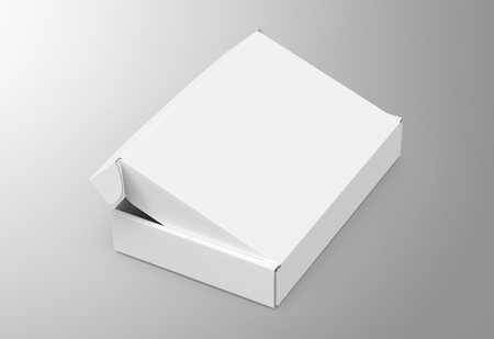 Blank tuck top box template, slightly open paper box mockup isolated on light gray background, elevated view Reklamní fotografie