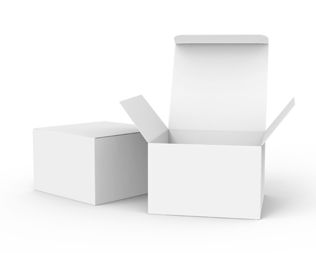 Blank paper box mockup, white paper boxes one open and the other closed in 3d rendering Banque d'images