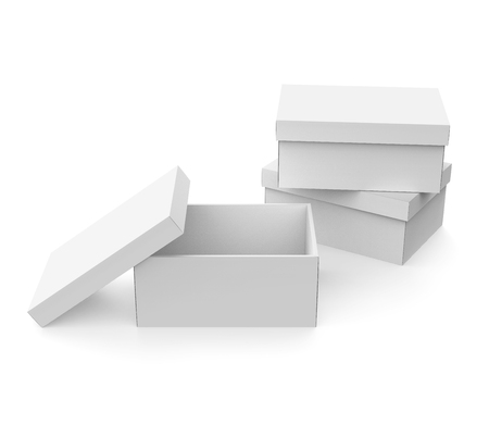 Blank paper box template, three boxes mockup with lid in 3d rendering, one open and lid lean on it Stock fotó