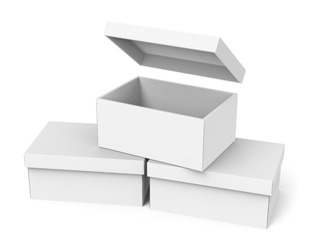 Blank paper box template three boxes mockup with lid in 3d blank paper box template three boxes mockup with lid in 3d rendering one open maxwellsz