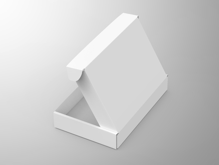 Blank tuck top box template, single open paper box mockup isolated on light gray background, elevated view