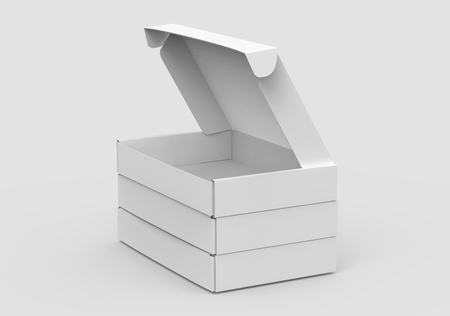 Blank tuck top box template, stack of paper boxes mockup isolated on light gray background, elevated view