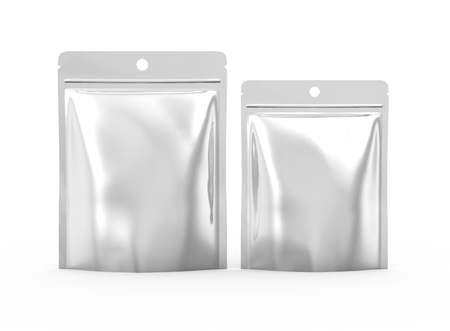 Blank Zipper pouch, two plastic silver bags template mockup for design uses in 3d rendering