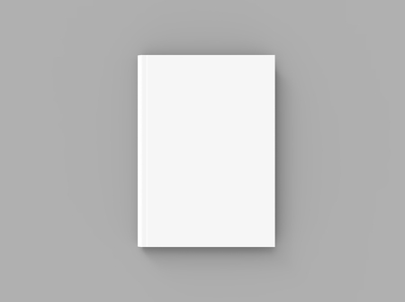 Hardcover book template, blank mockup for design uses, top view 3d rendering
