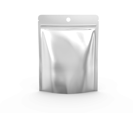 Blank Zipper pouch, single plastic silver bag template mockup for design uses in 3d rendering
