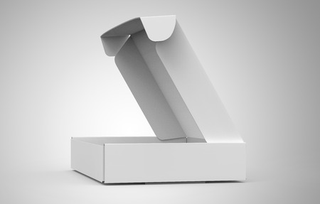 Blank tuck top box template, open paper box mockup isolated on light gray background, side view Reklamní fotografie