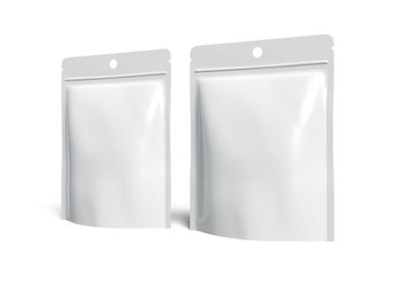 Lege Ritszak, twee plastic witte zakken malplaatjemodel voor ontwerpgebruik in het 3d teruggeven