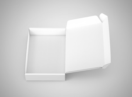 Blank tuck top box template, single open paper box mockup isolated on light gray background, top view