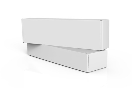 Blank paper box mock up, packaging elements for design uses in 3d rendering, two boxes pile up