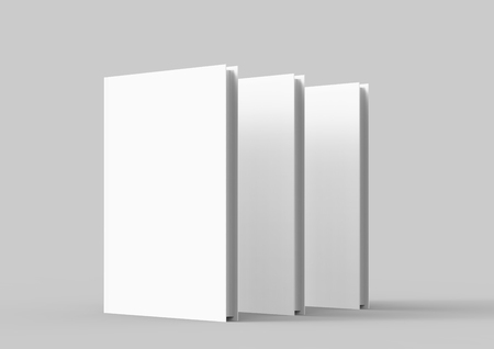 Hardcover book template, blank standing books mockup for design uses, 3d rendering Stock Photo