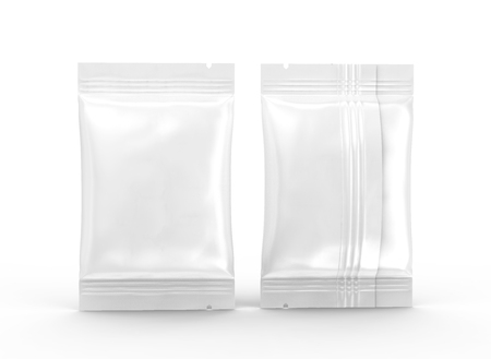 Blank food package mockup, 3d rendering foil packages template for design uses, standing packs