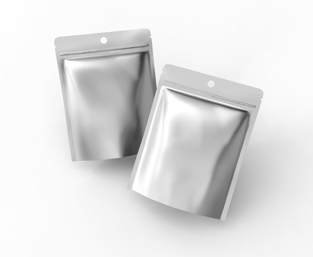 Blank Zipper pouch, two plastic silver bags template mockup for design uses in 3d rendering, top view Stock Photo