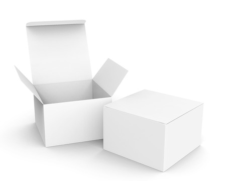 Blank paper box mockup, white paper boxes one open and the other closed in 3d rendering Banco de Imagens
