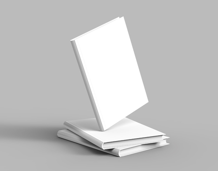 Hardcover books template, pile of blank books mockup and one floating in the air for design uses, 3d rendering
